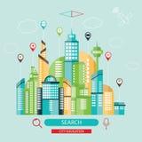 Modern illustration av stadsnavigering Vektor Illustrationer