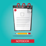 Modern  illustration of brightness notebook with pencil on Stock Photos