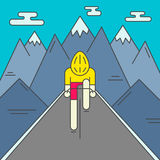 Modern Illustration of cyclist on the road Royalty Free Stock Photos