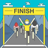 Modern Illustration of cyclists on finish line Stock Photo