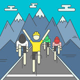Modern Illustration of cyclists on finish line Stock Photography