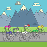 Modern Illustration of cyclists on the road. Royalty Free Stock Photo