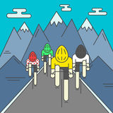 Modern Illustration of cyclists on the road Stock Photography
