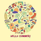 Modern  illustration with different summer vacation items and objects . Stock Images