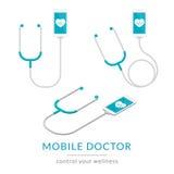 Modern illustration för Digital hälsolägenhet av mobil medicin med smartphonen och stetoskopet stock illustrationer