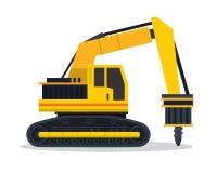 Modern illustration för medel för konstruktion för lägenhet för borrandemaskin vektor illustrationer