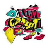 Modern illustration för skraj stads- grafitti royaltyfri illustrationer