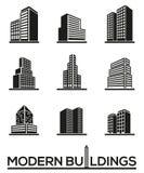 Modern illustration för vektor för byggnadskontursymboler royaltyfri illustrationer