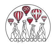 Modern illustration of a famous turkish travel destination Cappadocia. Striped air balloons, chimney rocks in half circle frame. Hand drawn doodle black stock illustration