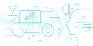 Modern illustration in flat style data security on the Internet. Vector banner Royalty Free Stock Photos
