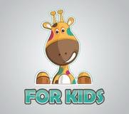 Modern  illustration of giraffe for kids. Modern  design of happy and colorful giraffe for kids logo or birthday card etc Stock Photography