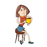 Modern illustration  girl sitting on a chair drinking coffee Royalty Free Stock Photos