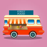 Modern  illustration icons set of wagon full of tasty summer food, meals, drinks and fruits Stock Photos