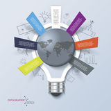 Modern illustration infographic with light bulb can be used for Stock Photography