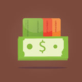 Modern  illustration of payment, cash with credit card Royalty Free Stock Photography