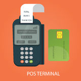 Modern  illustration of pos-terminal. Payments by credit card Royalty Free Stock Photos