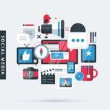 Modern illustration about social media in flat design style. Desktop computer, TV, phone, camera, tablet etc. Modern illustration about social media in flat stock illustration