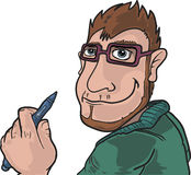 Modern illustrator. A cartoon young illustrator on white background with a digital pencil in his hand. Vector illustration royalty free illustration