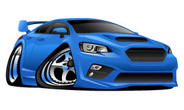 Import Modern Muscle Sports Car Illustration. Very cool modern import sport sedan cartoon illustration. Mean, low and blue, aggressive stance, big tires and rims Royalty Free Stock Photo