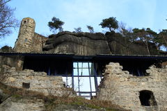 Modern inbuild in Oybin castle and monastery Royalty Free Stock Image
