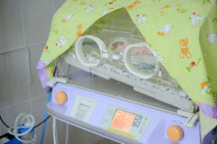 Modern incubator at clinic. Close-up of incubator at maternity clinic's room Stock Images