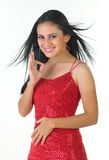 Modern indian girl saying excellent. With red skirt Stock Photography