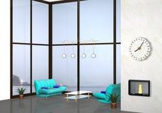 Modern indoor. 3d modern indoor living room with background Stock Images