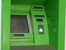 Modern indoor ATM. Modern indoor automatic teller machine at a bank (ATM Royalty Free Stock Photography