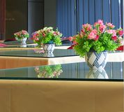 Modern Indoor Coffee Shop. With Artificial Flowers Arrangements Royalty Free Stock Images