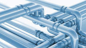 Modern industrial blue metal pipeline fragment. 3d render. Illustration Royalty Free Stock Photos