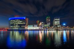 Media City, Salford, Manchester At Night stock photography