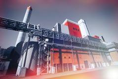 Modern industrial factory against blue sky Stock Photos
