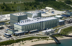 Modern Industrial Factory Plant with Aerial View. Industrial factory plant with the photography taken with an aerial perspective Royalty Free Stock Image