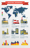 Modern industrial flat infographic background. Royalty Free Stock Photo
