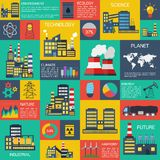 Modern industrial flat infographic background. Stock Photo