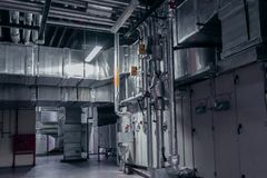 Industrial, interior, environment, atmospheric, ventilation, air conditioner. Modern industrial interior of the ventilation plant room, that can be used for stock images