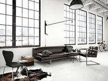 Modern industrial loft. 3d rendering Stock Photos