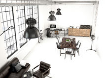 Modern industrial loft. 3d rendering Stock Photography