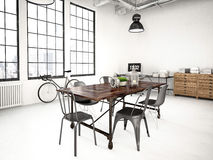 Modern industrial loft. 3d rendering Royalty Free Stock Photography