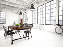Modern industrial loft. 3d rendering Stock Photo
