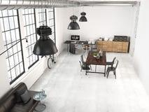 Modern industrial loft. 3d rendering Royalty Free Stock Photo