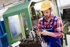 Modern industrial machine operator working in factory stock images