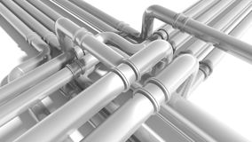Modern industrial metal pipeline fragment Royalty Free Stock Images
