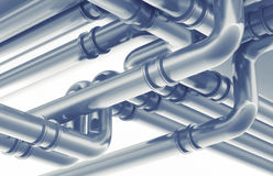 Modern industrial metal pipeline fragment. 3d render Stock Images