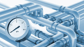 Modern industrial metal pipeline fragment with manometer Royalty Free Stock Photo