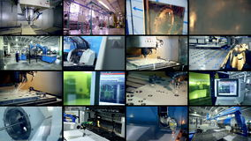 Modern industrial production. Multiscreen montage.