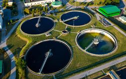 Modern industrial sewage treatment plant. Aerial view of modern industrial sewage treatment plant Royalty Free Stock Photography