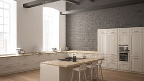 Modern industrial wooden kitchen with wooden details and panoramic window, white minimalistic interior design, downtown. Panorama stock illustration