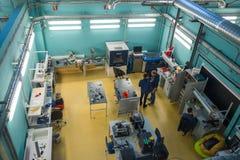 Modern industrial workplace interior in Skolkovo Technopark. Skolokovo, Russia - October 16, 2017: Modern industrial workplace interior in Skolkovo Technopark Royalty Free Stock Photo