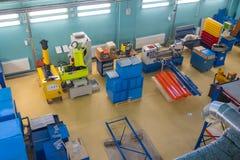 Modern industrial workplace interior in Skolkovo Technopark. Skolokovo, Russia - October 16, 2017: Modern industrial workplace interior in Skolkovo Technopark Royalty Free Stock Images